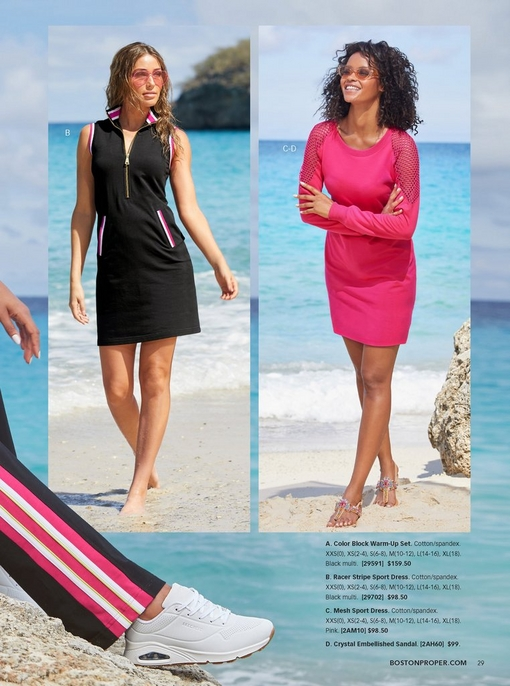 left model wearing a black sleeveless sport dress with red and white racer stripes. right model wearing a mesh sport dress in pink with jewel embellished sandals and glitzy sunglasses.