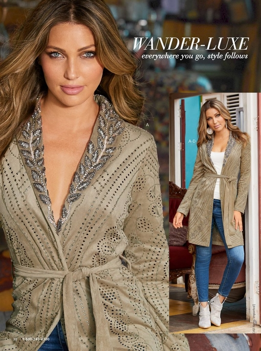 model wearing an embellished faux-suede jacket with a tie waist over a white tank top, blue jeans, and metallic ankle booties.