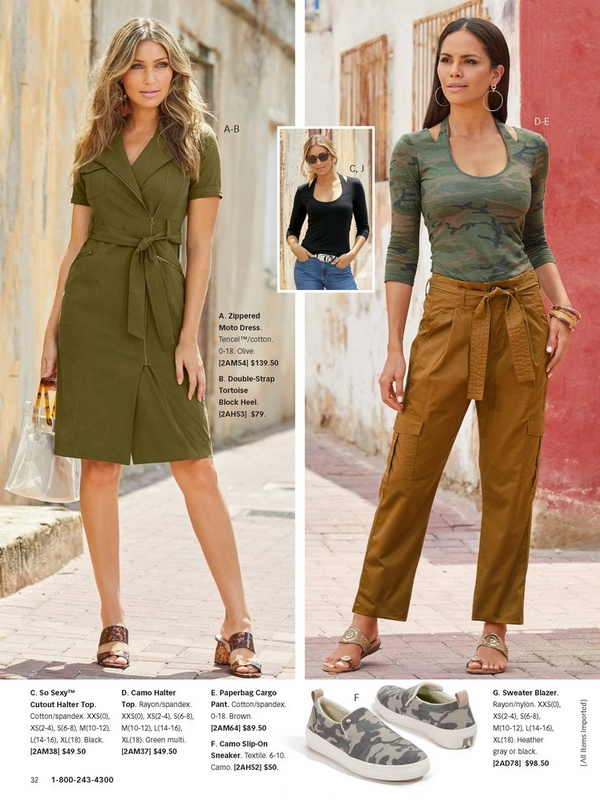 left model wearing an olive green tie-waist dress and tortoise block heels.right model wearing a camouflage cutout top with tie-waist cargo pants in spice.
