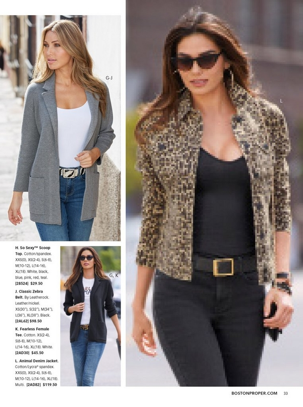 left model wearing a gray sweater blazer over a white tank top, zebra belt, and jeans. right model wearing an animal print denim jacket, black tank top, black belt, and black jeans with cat eye sunglasses.