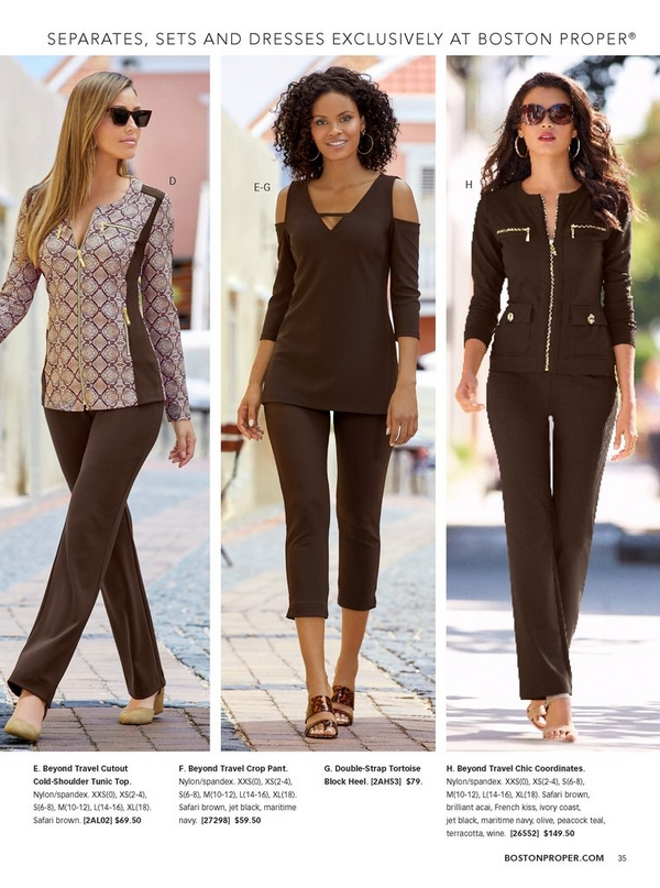 left model wearing a brown python print two-piece warm up, sunglasses, and tan closed toe wedges. middle model wearing a cutout cold-shoulder tunic top in brown and brown crop pants with tortoise block heel. right model wearing brown chic coordinates, sunglasses, and tan heels.