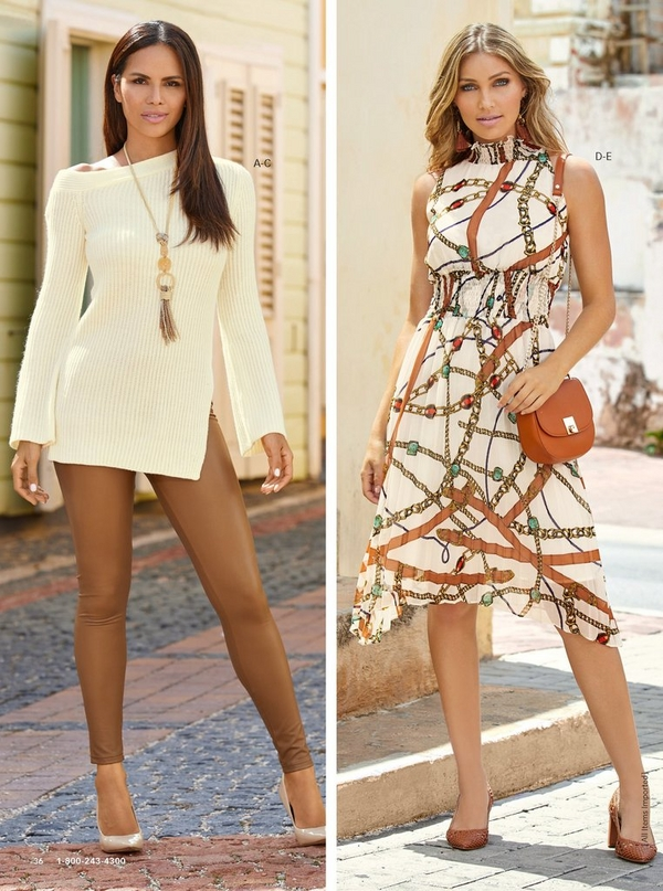 left model wearing an asymmetrical tunic sweater in cream with cognac vegan leather leggings. right model wearing a status-print pleated midi dress and cognac woven heels while holding a cognac bag.