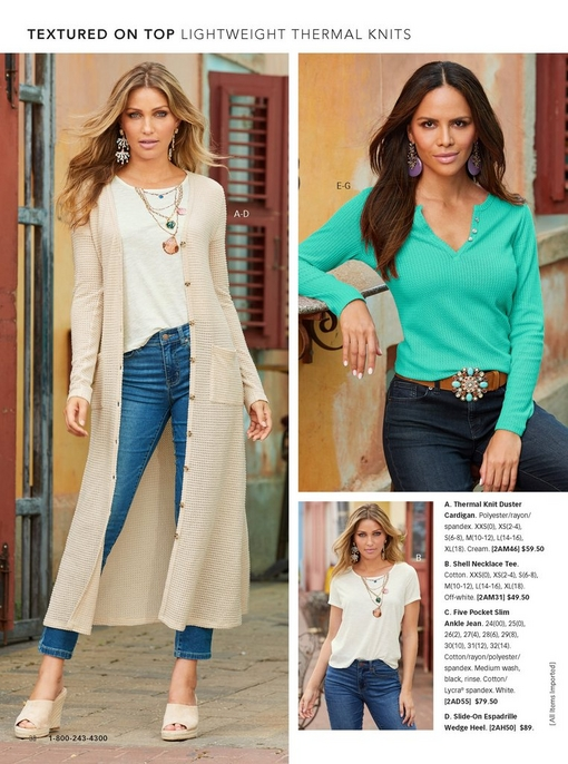 left model wearing a thermal knit cardigan in cream, a shell necklace tee, and jeans with tan wedges. right model wearing a turquoise thermal knit henley top, lavender earrings, and a turquoise stone belt. there is a silo of the shell necklace tee.