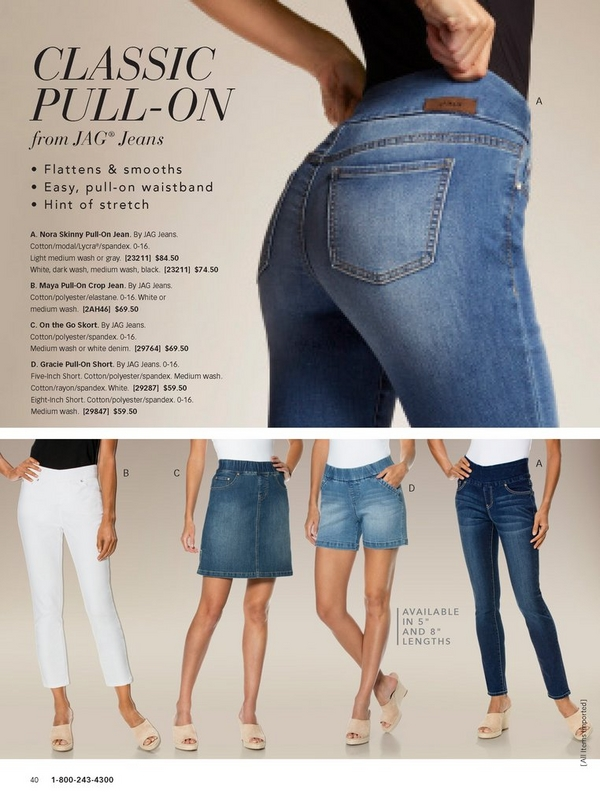this page shows off the different jag jeans: classic pull-on jeans, the crop pull-on jeans, the pull-on shorts, and the pull-on skort.