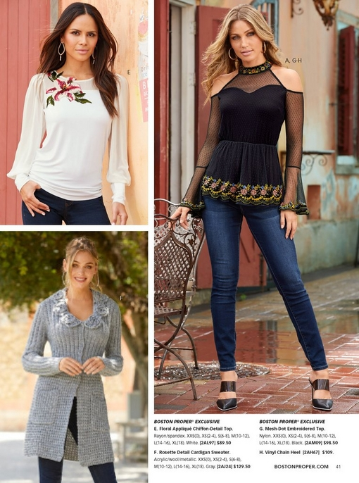 top left model wearing a white chiffon top with a floral applique and jeans. bottom left model wearing a gray rosette detail cardigan sweater and jeans. right model wearing a mesh-dot floral embroidered top, blue jeans, and black vinyl wedges.