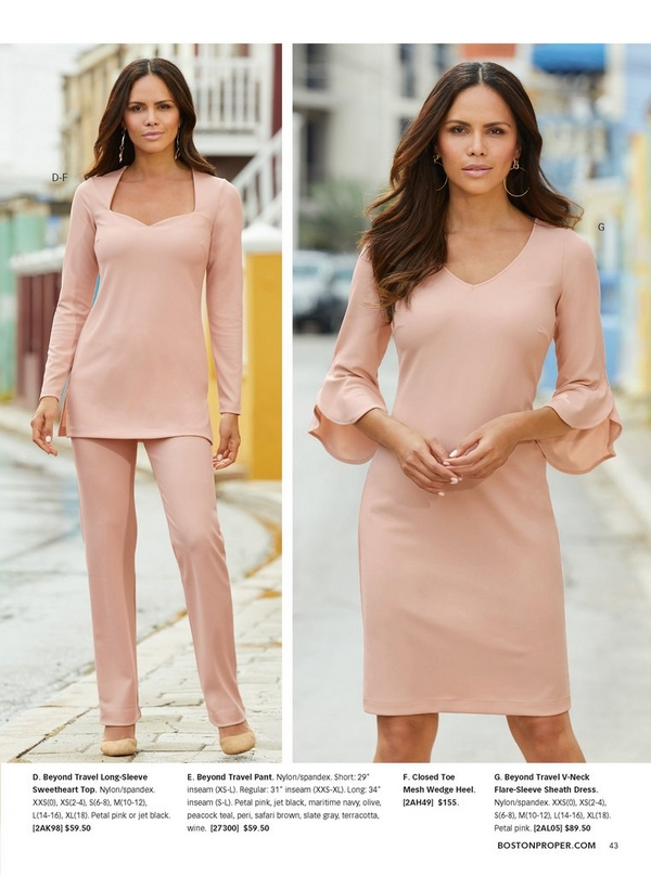 left model wearing a blush colored long-sleeve sweetheart top and blush travel pant with closed toe wedges. right model wearing a blush colored flare-sleeve sheath dress.