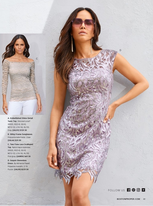 left model wearing a two-tone lace scalloped top in pink and gray. right model wearing a sequin sleeveless dress in purple with purple sunglasses and dangle earrings.