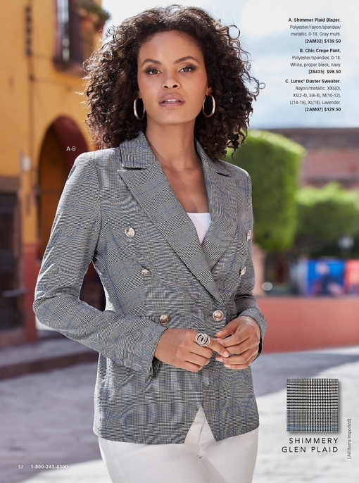 model wearing a gray shimmer plaid blazer, white tank top, and white jeans.