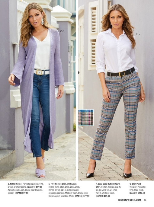 left model wearing a lavender sweater duster, a white v-neck tank top, blue jeans, purple shoes, and spring statement earrings.