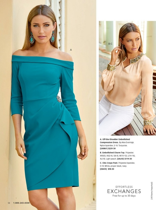 left model wearing a turquoise off the shoulder embellished compression dress and turquoise earrings. right model wearing an embellished charm top in peach and white jeans.
