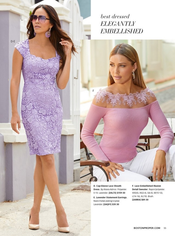 left model wearing a purple cap-sleeve lace sheath dress, tan pumps, purple earrings, and purple sunglasses. right model wearing a pink lace embellished illusion detail sweater, pastel hoop earrings, and white crepe pants