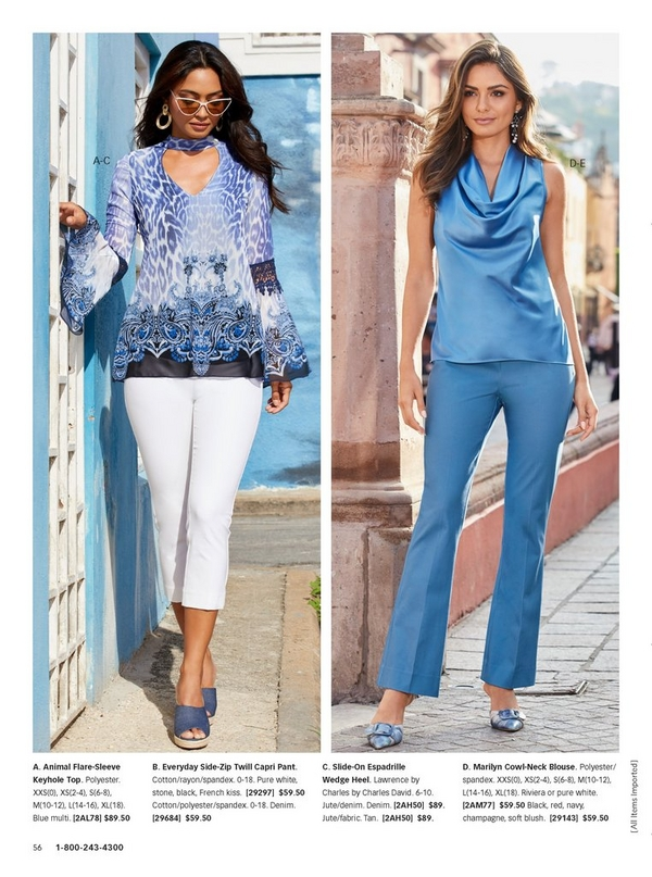 left model wearing a blue animal print keyhole top, white capris , denim wedges, and cat eye sunglasses. right model wearing a blue cowl neck sleeveless blouse and blue bootcut pants.