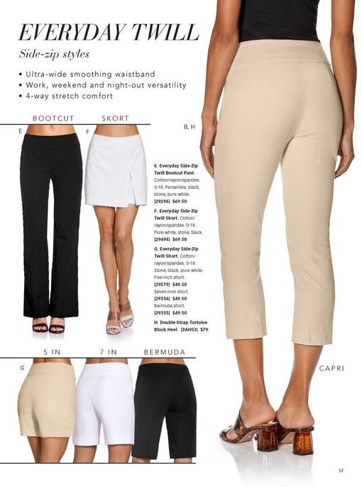 the everyday twill collection is shown in black, white, and tan. included is the bootcut pant, the skort, the capri, and the three lengths of shorts.
