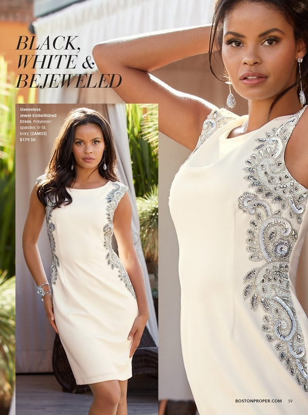 model wearing a white sleeveless jewel embellished dress and silver jeweled drop earrings.