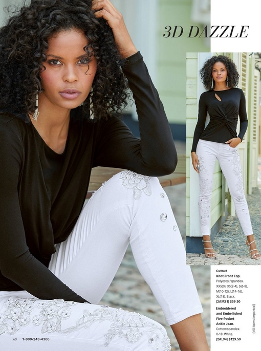 model wearing a black cutout knot-front top, dangle earrings, white embroidered and embellished ankle jeans, and strappy heels.