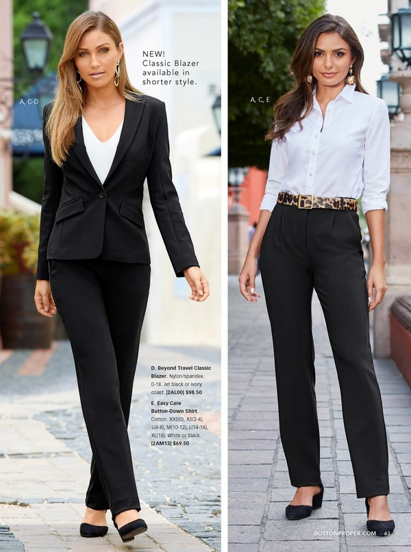left model wearing a black blazer, black pants, white v-neck tank top, and black closed toe wedges. right model wearing a white button udown shirt with a leopard belt, black pants, and black closed toe wedges.