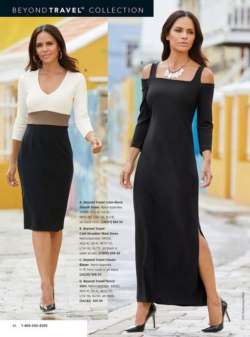left model wearing long sleeve colorblock dress in white, tan, and black. left model wearing a black cold-shoulder maxi dress.