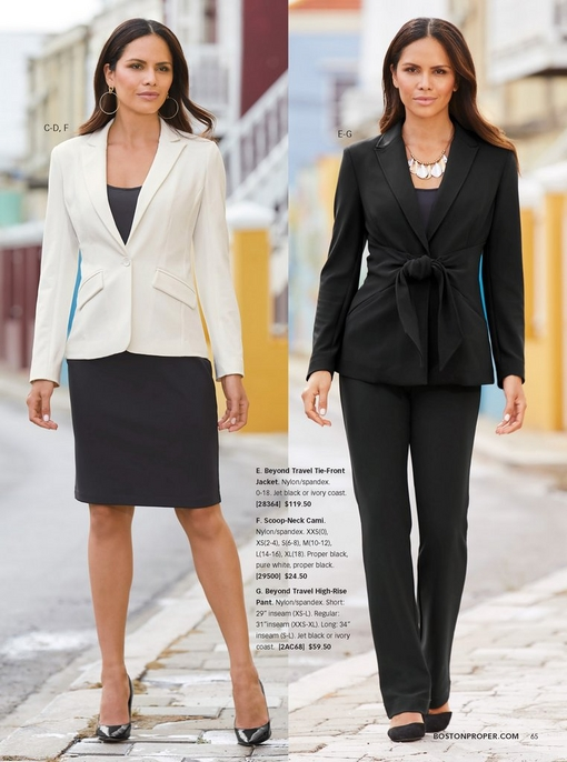 left model wearing a white blazer over a black dress with black pumps. right model wearing a tie-front jacket in black over a black tank top and black pants with black shoes and a metal choker necklace.