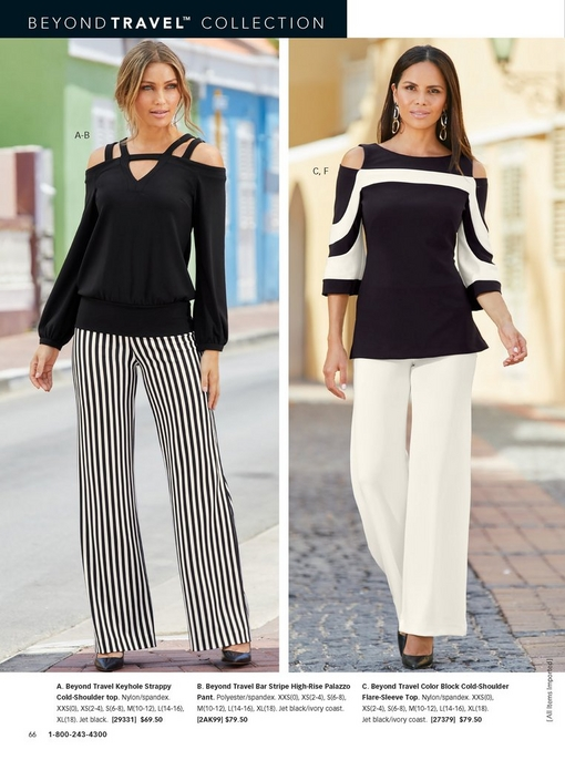 left model wearing a black, strappy, cold-shoulder top with black and white striped palazzo pants. right model wearing a black and white cold-shoulder top and white palazzo pants.