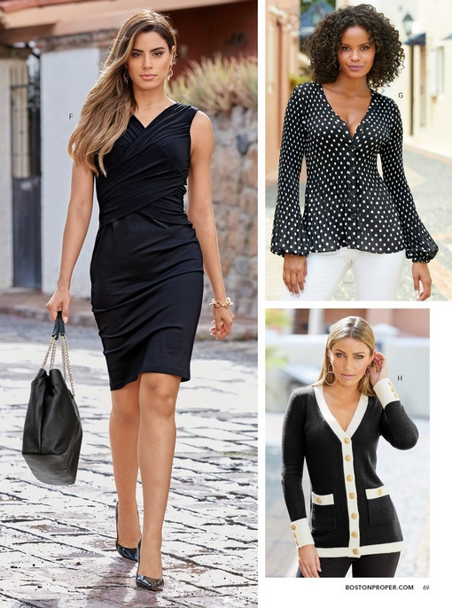left model wearing a black draped dress and black pumps while holding a black bag. top right model wearing a black and white polka dot cardigan and white pants. bottom right model wearing a black and white button up cardigan with large gold buttons