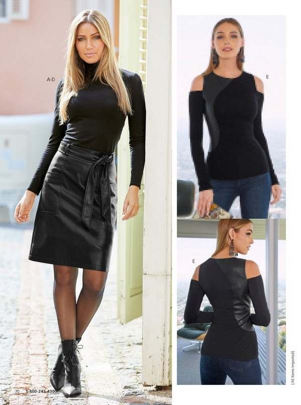left model wearing a black long sleeve turtleneck, black faux-leather skirt, sheer tights, and front-tie ankle booties.