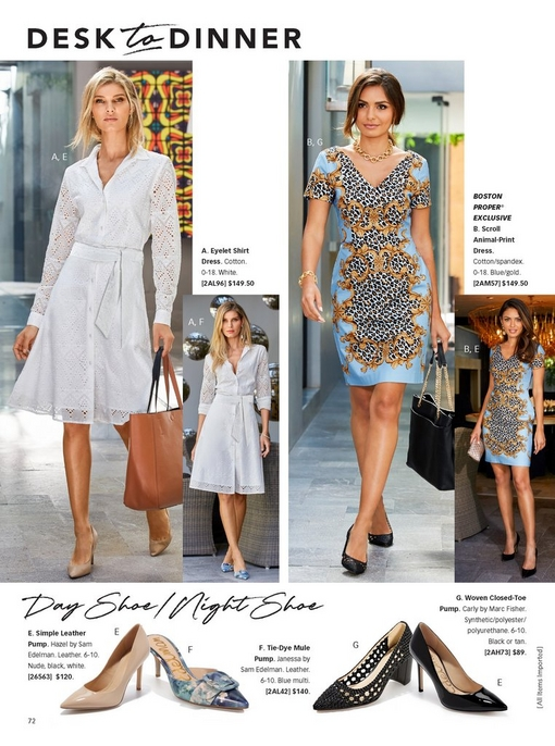 left model wearing a white eyelet belted shirt dress with tan pumps while holding a cognac bag for work and the same dress with tie-dye mule pumps for dinner. right model wearing a scroll animal print dress with black woven closed-toe pumps and a black bag for work and the same dress while holding a clutch for dinner. the bottom silos show the different shoes you can wear with the outfits.