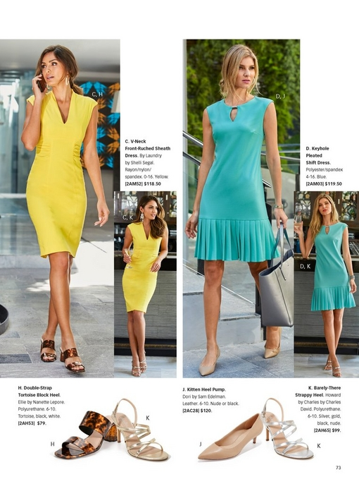 left model wearing a yellow dress that is shown for work and drinks. right model wearing a pleated blue dress that can be worn for work or drinks. silos of the different shoes that can be worn with these dresses.