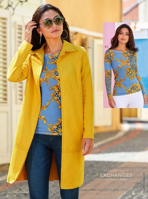 left model wearing a faux-suede soft jacket in yellow over a leopard status print sweater and jeans with aviator sunglasses. right model wearing the blue leopard status print sweater.