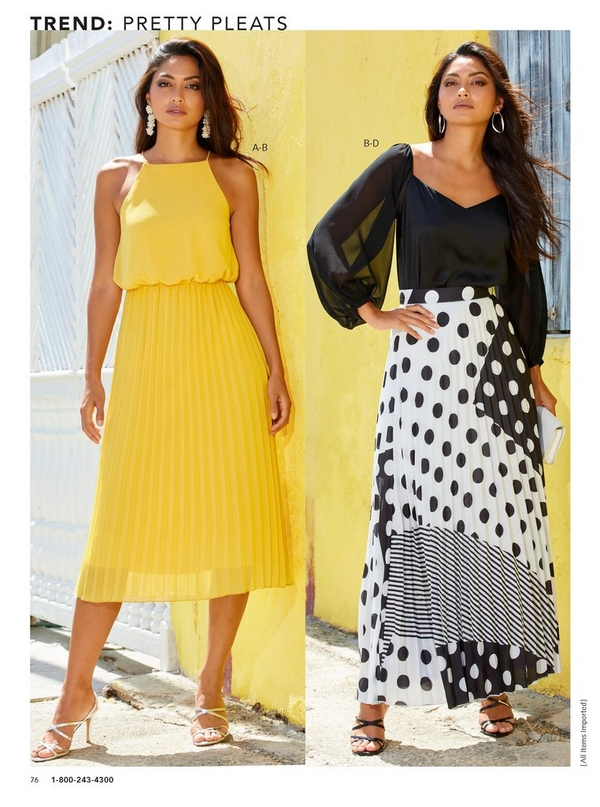 left model wearing a yellow pleated midi dress. right model wearing an illusion puff sleeve top in black with a mixed print, polka dot, black and white skirt.