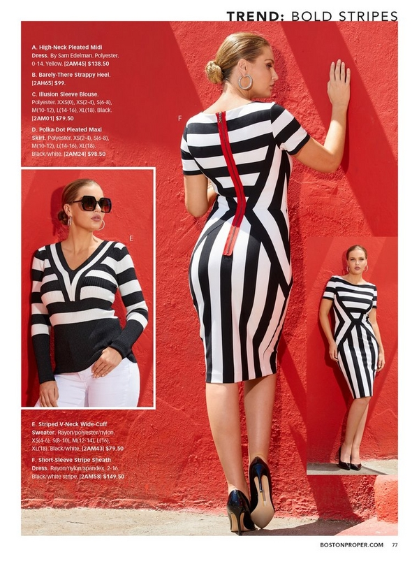 left model wearing a black and white striped v-neck sweater and white jeans with large sunglasses. right model wearing a black and white striped dress with a red detail zipper in the back.