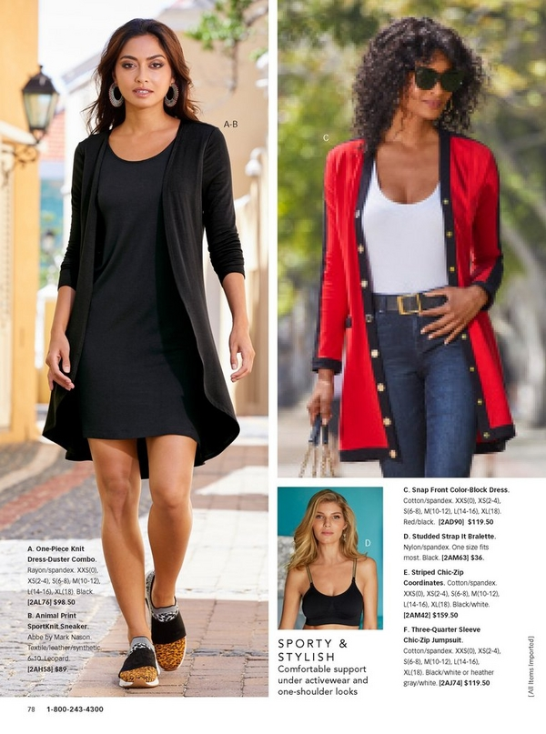 left model wearing a black one-piece knit dress-duster combo with animal print slip on sneakers. right model wearing a red colorblock cardigan, white tank top, black belt, and jeans.