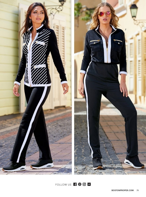 left model wearing a sblack and white striped chic-zip coordinates. right model wearing a black and white three-quarter sleeve chic-zip jumpsuit.