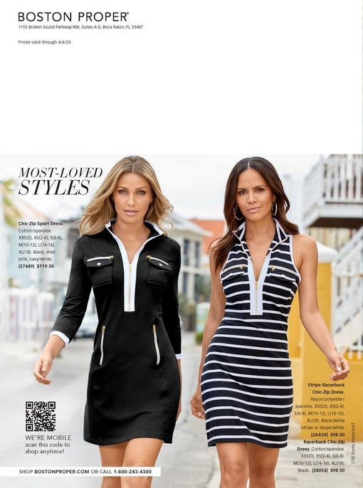 left model wearing a black and white long-sleeve chic zip dress. right model wearing a sleeveless black and white striped sport dress.
