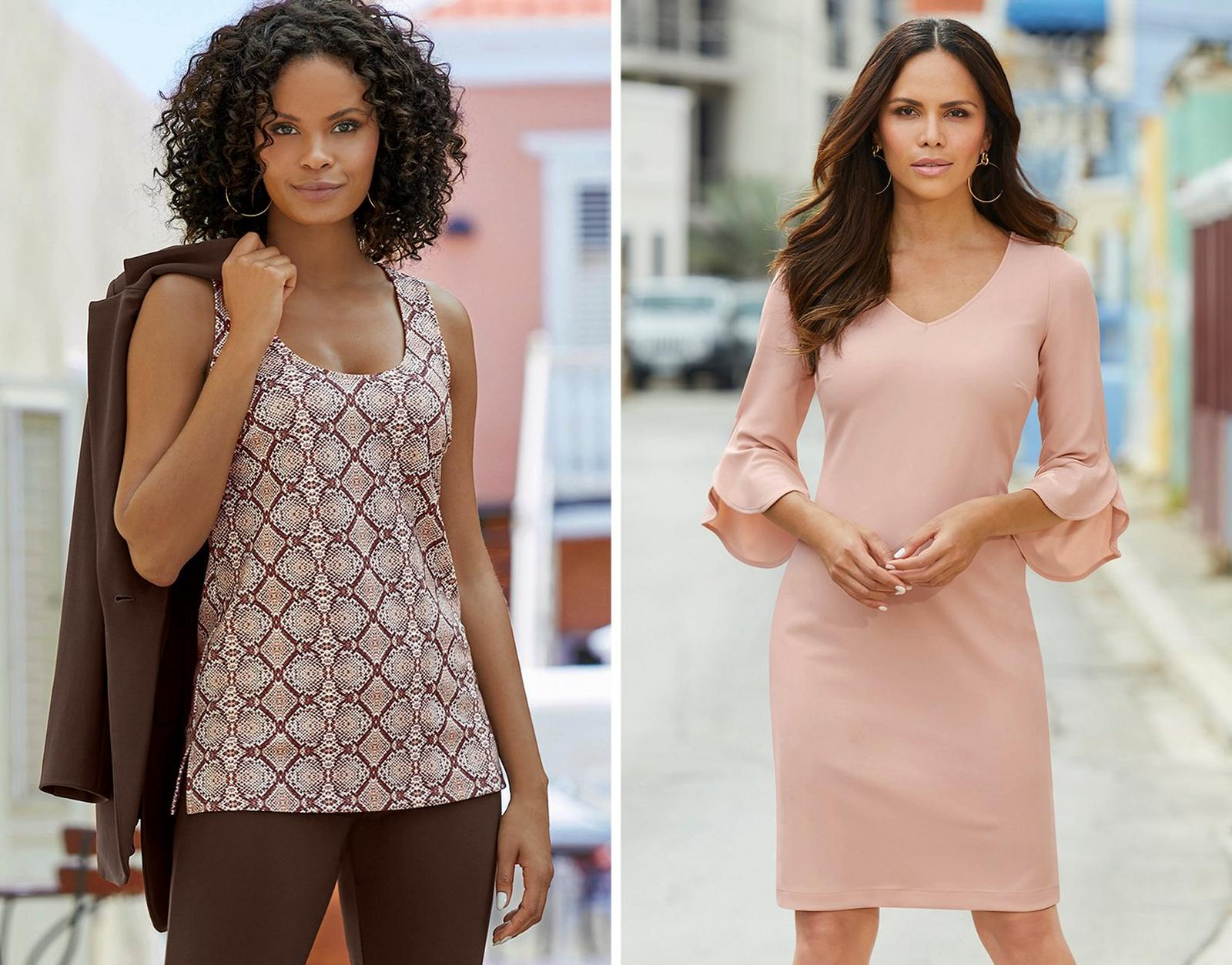 left model wearing a brown python print tank top and brown pants with a brown blazer slung over her shoulder. right model wearing a petal pink flare-sleeve sheath dress with a v-neck.