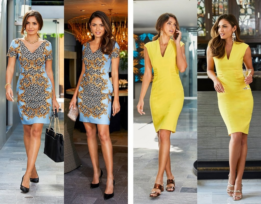 left model wearing a blue and animal print dress showing how to wear it for day and night. right model wearing a military style yellow dress showing how to wear it from day to night.