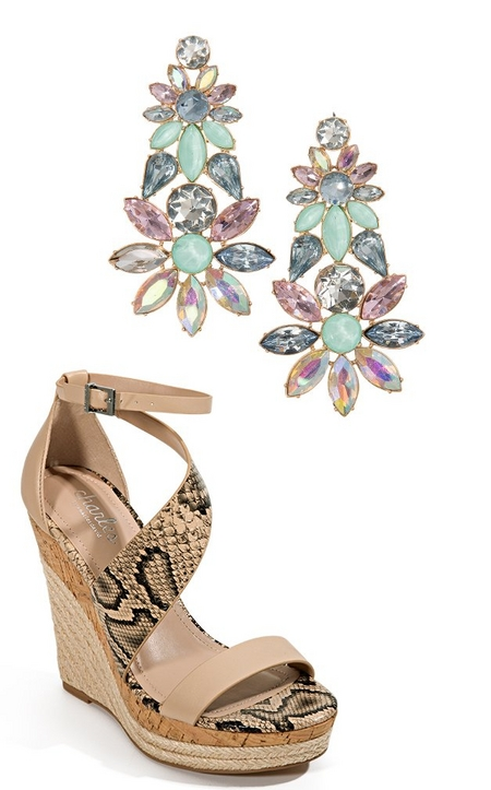 silos of a tan snake print wedge and pastel statement earrings.