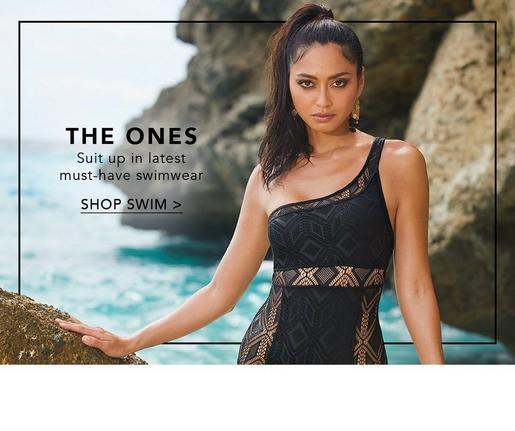 mesh one-shoulder one-piece black swimsuit.