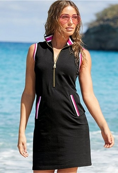model wearing a black sleeveless sport dress with red and white racer stripes.