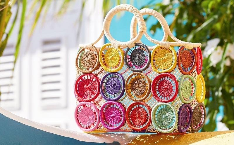 multicolored crochet handbag.