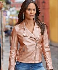 model wearing a blush metallic moto jacket.