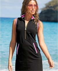 model wearing a black sleeveless sport dress with red and white racer stripes and pink sunglasses.