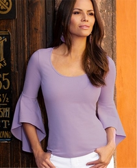 model wearing a lavender flare-sleeve top.