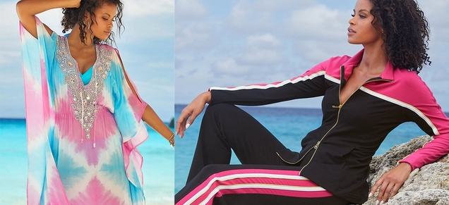 left model wearing an embellished pastel pink and blue caftan. right model wearing a colorblock black, pink, and white warm up.
