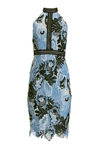 blue floral lace high neck midi dress