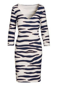 zebra print three-quarter sleeve dress.