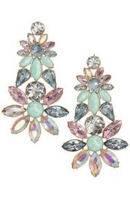 pastel colored jewel earrings.