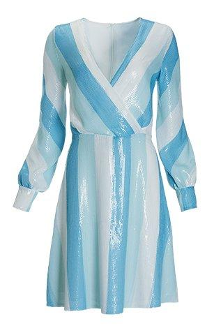 blue and white long-sleeve sequin dress.