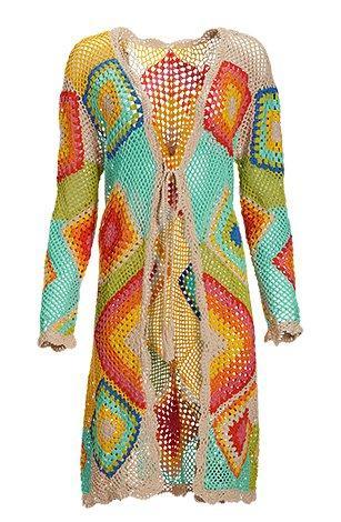 multicolored crochet duster.