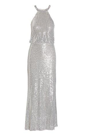 silver sequin mock-neck maxi dress.
