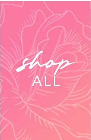 pink text on a floral pink background: shop all